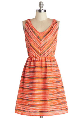 Spearhead of Schedule Dress by Tulle Clothing - Orange, Multi, Print, Casual, A-line, Sleeveless, Summer, Better, V Neck, Mid-length, Woven