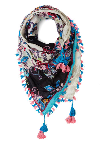 Crazy About Color Scarf in Blue - Cotton, Woven, Paisley, Fringed, Tassels, Boho, Festival, Spring, Summer, Multi