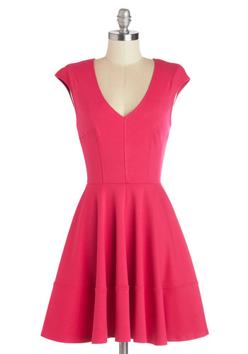 Curtsy for Yourself Dress in Fuchsia - Mid-length, Knit, Pink, Solid, Casual, A-line, Cap Sleeves, Better, V Neck, Variation