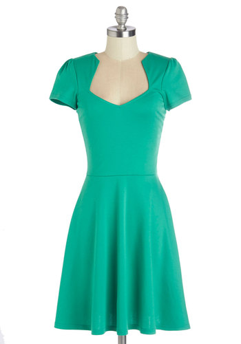 Ooh La La Lady Dress - Knit, Green, Solid, Casual, A-line, Short Sleeves, Better, Mid-length