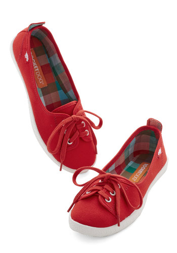 Walk of the Town Flat in Red - Red, Casual, Flat, Lace Up, Variation, 90s, Summer