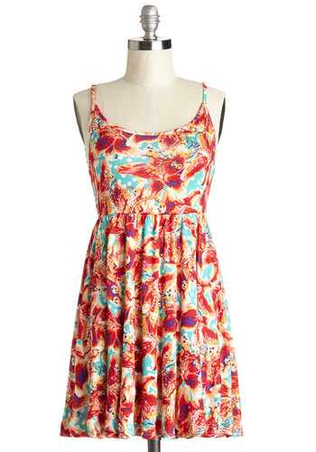 Traverse Impressions Dress - Multi, Floral, Casual, Beach/Resort, A-line, Spaghetti Straps, Good, Scoop, Festival, Short, Jersey, Knit, Sundress, Summer, Cover-up, Show On Featured Sale, Boho