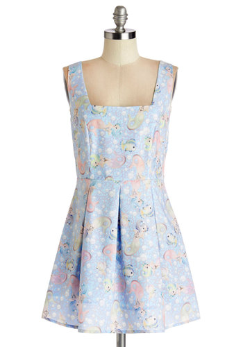 I Saw the Siren Dress - Multi, Novelty Print, Casual, Beach/Resort, A-line, Sleeveless, Good, Nautical, Short, Blue, Quirky, Pastel, Show On Featured Sale