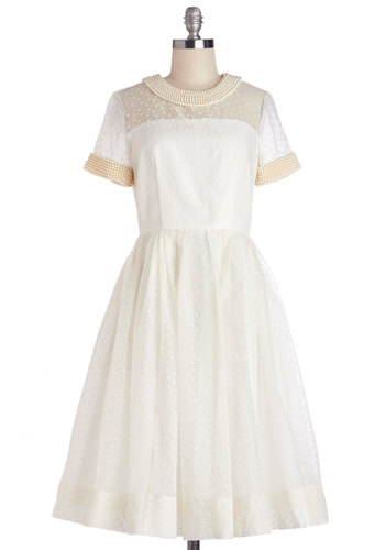 Orla Kiely Par for the Dessert Course Dress by Orla Kiely - Beads, Special Occasion, Wedding, Bride, Vintage Inspired, 60s, A-line, Short Sleeves, Best, International Designer, Long, Sheer, Cream, Pearls, Social Placements