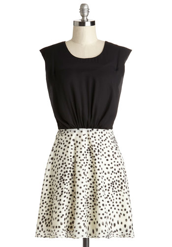 That's What I Dot Dress - Black, White, Casual, Twofer, Sleeveless, Better, Scoop, Mid-length, Chiffon, Satin, Woven