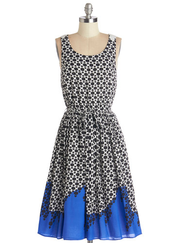 Office to Aperitifs Dress - Black, White, Print, Belted, Casual, A-line, Sleeveless, Better, Scoop, Long, Woven, Blue