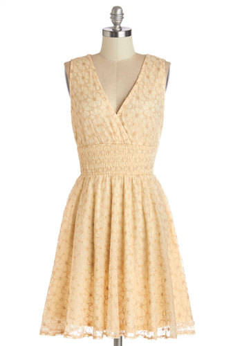 Mellow Melodies Dress - Tan, Embroidery, Casual, A-line, Sleeveless, Better, V Neck, Mid-length, Woven, Floral, Sundress