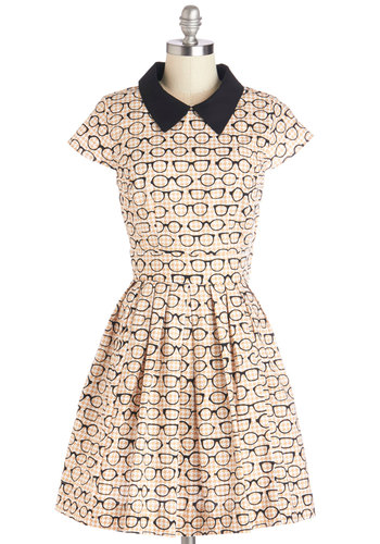Clear as Day Off Dress - Cotton, Multi, Novelty Print, Casual, A-line, Short Sleeves, Better, Collared, Tan / Cream, Black, White, Houndstooth, Pockets, Exclusives, Top Rated, Scholastic/Collegiate, Full-Size Run, Mid-length