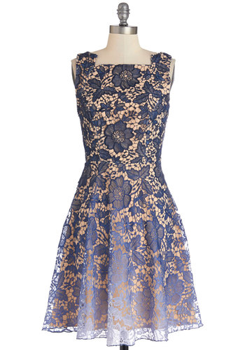 Eva Franco Dancing on My Ombre Dress by Eva Franco - Blue, Tan / Cream, Lace, Special Occasion, Party, A-line, Best, Woven, Mixed Media, Mid-length, Ombre