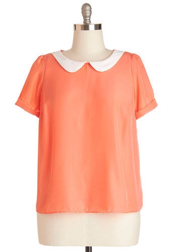 Guest Appearance Top in Peach in Plus Size - White, Casual, Short Sleeves, Spring, Summer, Collared, Woven, Coral, Solid, Peter Pan Collar, Variation, Good