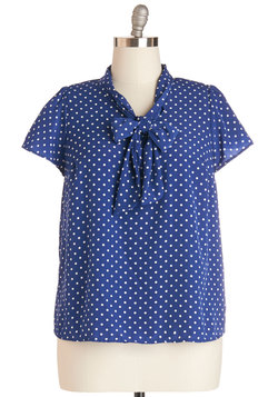 Tie for First Top in Dotted Navy - Plus Size