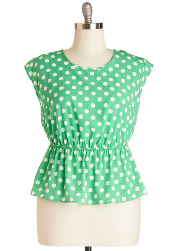 Working for the Weekdays Top in Mint Dots - Plus Size - Green, White, Polka Dots, Work, Casual, Cap Sleeves, Woven, Variation