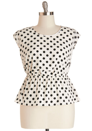 Working for the Weekdays Top in White Dots - Plus Size - White, Black, Polka Dots, Party, Work, Casual, Cap Sleeves, Variation