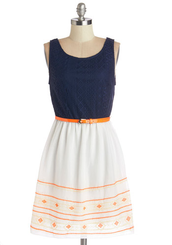 Mix with an Orange Twist Dress - Embroidery, Belted, A-line, Sleeveless, Summer, Woven, Good, V Neck, Knit, Orange, Blue, White, Casual