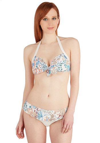 Snorkeling in the Sea Two-Piece Swimsuit - Multi, Orange, Blue, Tan / Cream, Floral, Ruffles, Beach/Resort, Halter, Summer, Exclusives
