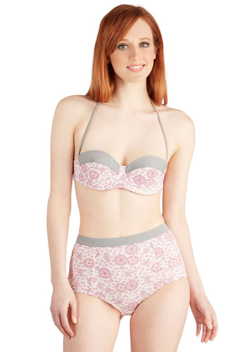 Dandelion, Beach, and the Wardrobe Two-Piece Swimsuit in Roses - Multi, Pink, Tan / Cream, Grey, Floral, Trim, Beach/Resort, Halter, Summer, High Waist, Exclusives