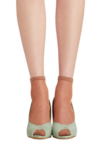 A Lining of Luxe Socks in Copper - Solid, Bows, Ruffles, Good, Variation, Sheer, Knit, Copper, Social Placements