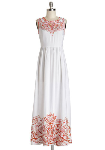 Grecian to Celebrate Dress - Festival, Maxi, White, Embroidery, Casual, Sleeveless, Summer, Woven, Better, Scoop, Long, Orange, Boho