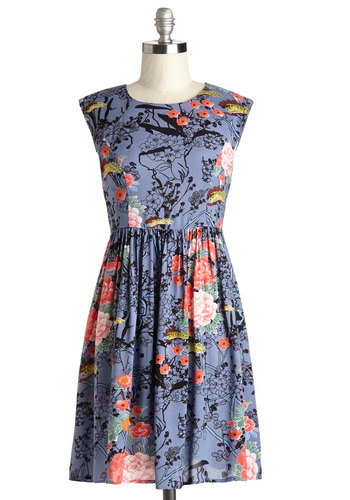 Garden Marvels Dress in Blue - Multi, Floral, Casual, A-line, Cap Sleeves, Woven, Good, Scoop, Mid-length