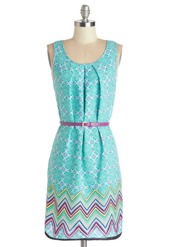 Island Hoping Dress - Multi, Print, Pleats, Belted, Casual, Shift, Sleeveless, Summer, Woven, Good, Scoop, Mid-length, Blue