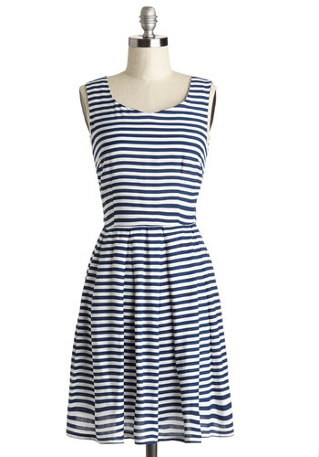 All the Right Stripes Dress - Blue, White, Stripes, Pleats, Casual, Nautical, A-line, Sleeveless, Woven, Better, Scoop, Mid-length, Cotton, Spring, Sundress, Summer
