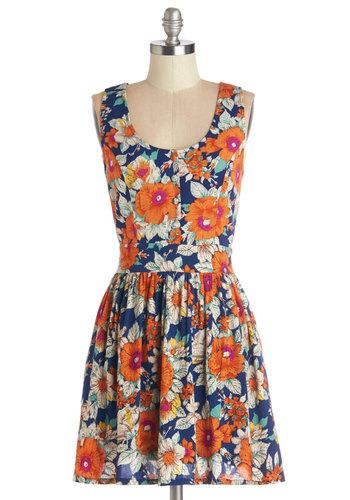 Bountiful Blooms Dress - Multi, Floral, Buttons, Cutout, Casual, A-line, Sleeveless, Summer, Better, Scoop, Short, Cotton, Woven, Pockets, Sundress