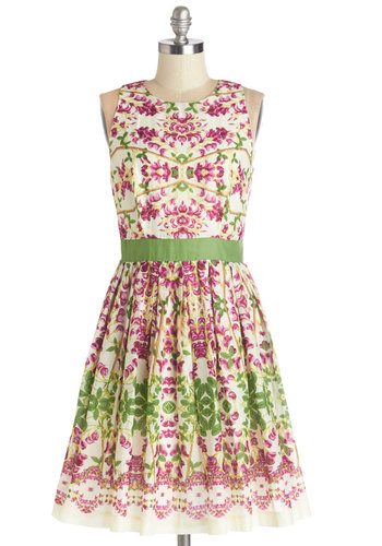 Well-Versed in Verisimilitude Dress - Floral, A-line, Sleeveless, Summer, Woven, Better, Scoop, Mid-length, Cotton, Green, Pink, Daytime Party, Graduation, Sundress