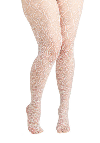 Diamond Dancer Tights in White - Plus Size - Sheer, Knit, White, Vintage Inspired, 20s, 30s, Boudoir