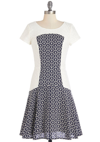 Eyelet in the Sun Dress - Mid-length, Cotton, Woven, Blue, White, Print, Eyelet, Daytime Party, A-line, Short Sleeves, Better, Scoop