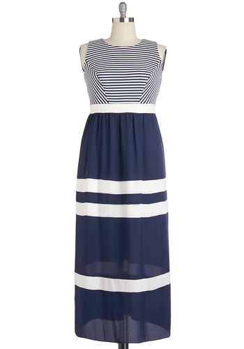 Blissful Breeze Dress in Plus Size - Woven, Blue, White, Stripes, Cutout, Casual, Nautical, Maxi, Sleeveless, Better, Show On Featured Sale