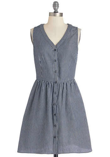 Morning Musings Dress - Blue, White, Stripes, Buttons, Casual, A-line, Sleeveless, Woven, Good, V Neck, Mid-length, Denim