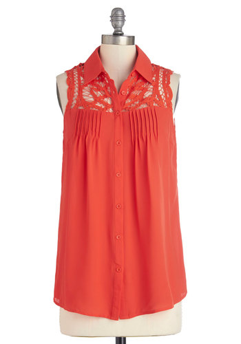 Favorite Movie Marathon Top - Sheer, Long, Red, Solid, Buttons, Crochet, Sleeveless, Spring, Summer, Collared, Red, Sleeveless, Good