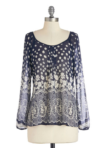 Tempting Treats Top - Sheer, Mid-length, Blue, White, Floral, Paisley, Boho, Long Sleeve, Spring, Blue, Long Sleeve, Casual, Scoop