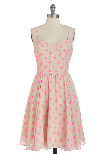 Dots and Dashing Dress - Tan, Pink, Polka Dots, Exposed zipper, Casual, A-line, Summer, Woven, Better, Sweetheart, Mid-length, Spaghetti Straps, Spring, Sundress
