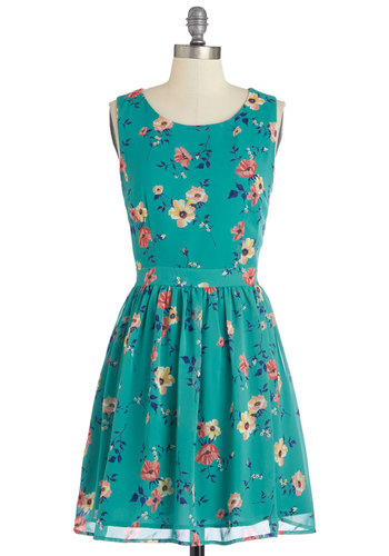Blossom in the City Dress - Green, Floral, Casual, A-line, Sleeveless, Summer, Woven, Good, Scoop, Mid-length, Chiffon, Multi