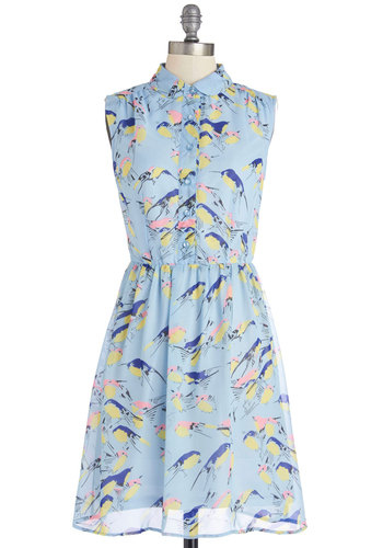 Wingin' It Dress - Blue, Print with Animals, Buttons, Peter Pan Collar, Casual, A-line, Sleeveless, Summer, Woven, Better, Collared, Mid-length, Multi, Spring, Critters, Bird, Woodland Creature