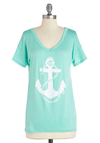 My Coeur, My Anchor Tee - Short Sleeve, Knit, Mid-length, Mint, White, Novelty Print, Casual, Nautical, Short Sleeves, Spring, Summer, V Neck, Green, Good