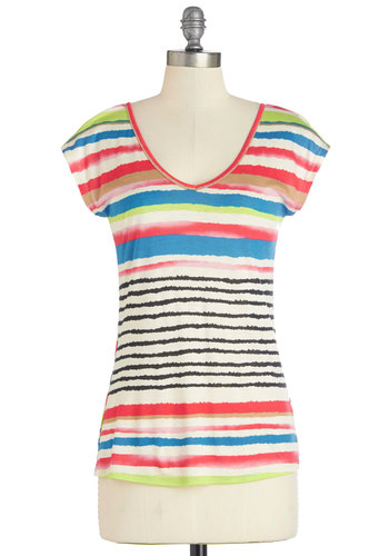 You Paint Seen Nothin' Top - Multi, Short Sleeve, Mid-length, Multi, Stripes, Casual, Short Sleeves, Spring, Summer