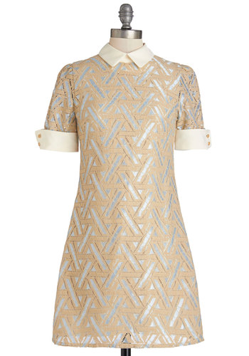 Ready to Deco Dress in Shimmer by Miss Patina - Blue, Print, Buttons, Casual, Vintage Inspired, 60s, A-line, Short Sleeves, Woven, Better, Collared, Mid-length, Tan / Cream, Knitted, Spring