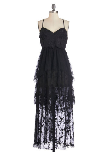 Spanish Castle Majestic Dress - Black, Solid, Cutout, Lace, Trim, Special Occasion, Prom, Party, Maxi, Woven, Better, Sweetheart, Long, Tiered, Spaghetti Straps, Sleeveless, Lace, Halloween