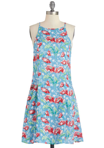 The Daytime Has Come Dress - Multi, Floral, Casual, A-line, Sleeveless, Summer, Woven, Good, Mid-length, Blue, Pockets