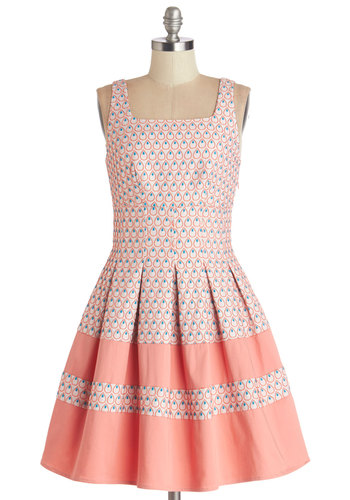 Right as Raindrops Dress by Darling - Print, Daytime Party, Fit & Flare, Sleeveless, Better, Mid-length, Knit, Pink, Blue, Pleats, Spring, Graduation, Pastel