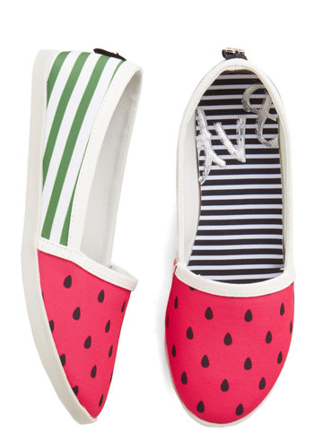 Until We Sweet Again Flat by Dolce Vita - Flat, Woven, Multi, Green, Pink, Black, White, Novelty Print, Casual, Summer, Fruits