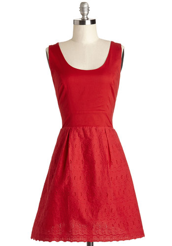 Conservatory Date Dress - Red, Solid, Eyelet, Scallops, Daytime Party, A-line, Sleeveless, Better, Scoop, Short, Cotton, Woven