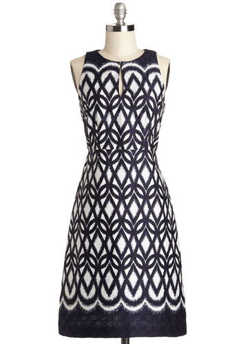 Award to the Wise Dress - Blue, White, Print, Party, Fit & Flare, Sleeveless, Summer, Better, Mid-length, Cotton, Woven, Daytime Party