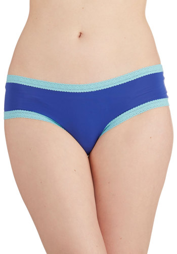 Lighthearted Layer Undies in Sapphire - Knit, Blue, Solid, Lace, Trim, Casual, Variation