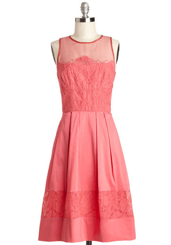 Mysterious Sways Dress - Long, Woven, Sheer, Pink, Solid, Lace, Special Occasion, Graduation, A-line, Sleeveless, Better, Pockets, Wedding, Bridesmaid