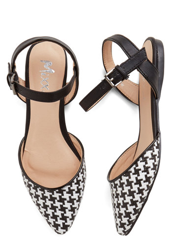 Fab Foot Forward Flat - Houndstooth, Flat, Faux Leather, Multi, Black, White, Work, Daytime Party