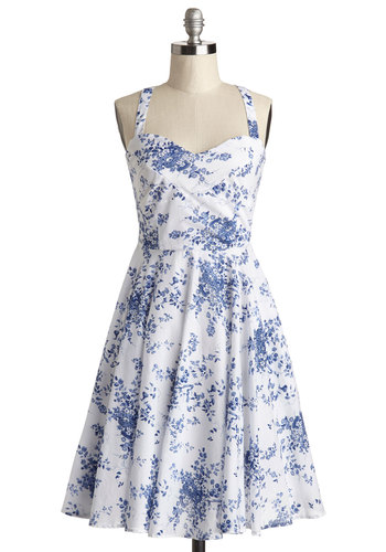 Garden Home Tour Dress in Delft by Louche - Blue, White, Floral, Daytime Party, Vintage Inspired, 50s, A-line, Tank top (2 thick straps), Better, International Designer, Sweetheart, Mid-length, Cotton, Woven, Exposed zipper, Sundress