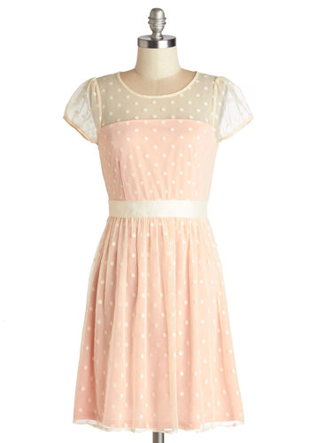 Endearing Engagement Dress in Pastel - Polka Dots, Belted, Party, Pastel, A-line, Cap Sleeves, Summer, Good, Scoop, Mid-length, Sheer, Knit, Pink, Tan / Cream
